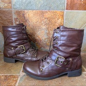 G by Guess Brown Combat Moto Boots Camo Inside